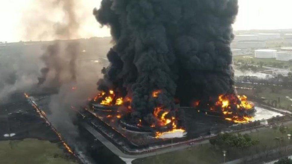 Indonesia Fire: Massive Blaze Erupts At Oil Refinery